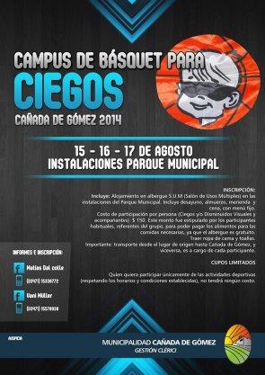 YA SE APROXIMA EL 1° CAMPUS DE BÁSQUET PARA CIEGOS EN CAÑADA DE GÓMEZ !!!! LOS ESPERAMOS...