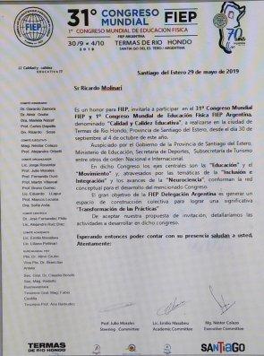 Invitacion al 31º CONCRESO MUNDIAL DE EDUCACION FISICA
